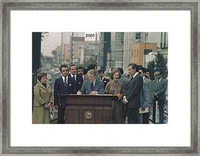 Jimmy Carter During A Tour Of Ixtlilco Framed Print by Everett