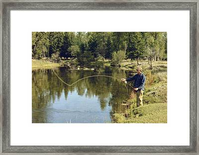 Jimmy Carter Fishing In The Grand Framed Print by Everett