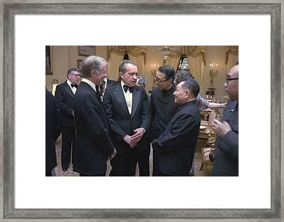 Jimmy Carter Richard Nixon And Deng Framed Print by Everett