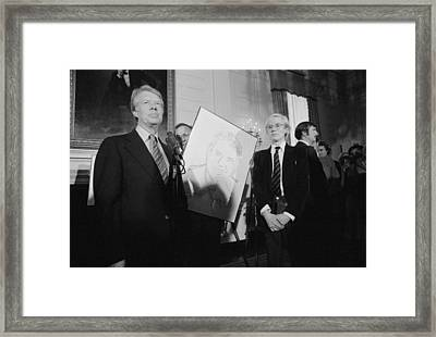 Jimmy Carter With Andy Warhol Framed Print by Everett