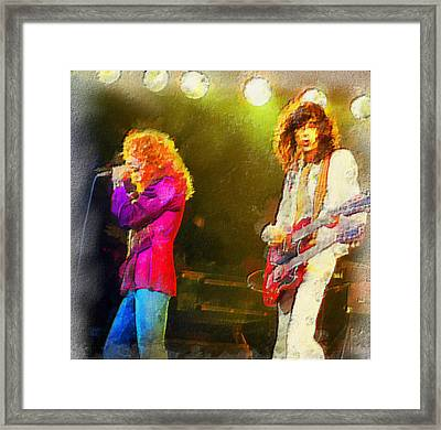 Jimmy Page And Robert Plant Framed Print by Galeria Zullian  Trompiz