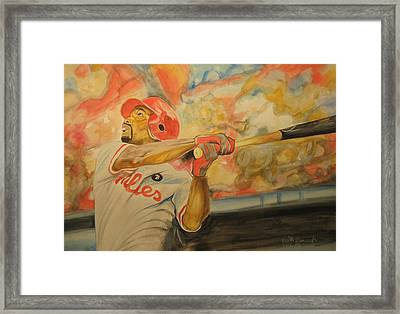 Jimmy Rollins Framed Print by Keith Hancock