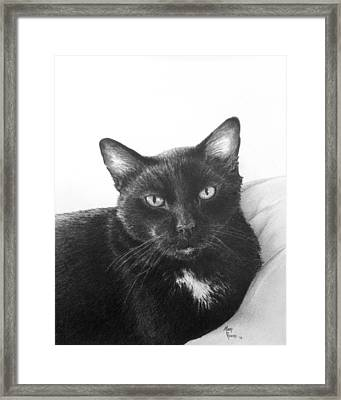 Jl On The Bed Framed Print by Mary Rogers