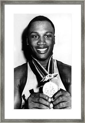 Joe Frazier Holding Olympic Heavyweight Framed Print