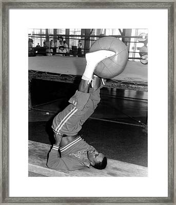 Joe Frazier In Training At The Concord Framed Print by Everett