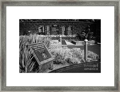 Joey Dunlop Memorial Garden In Ballymoney County Antrim Northern Ireland Framed Print