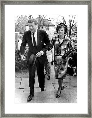 John And Jacqueline Kennedy Arrive Framed Print