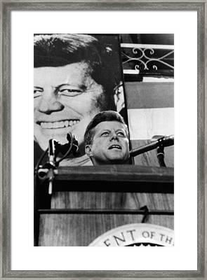 John F. Kennedy, Addresses A Democratic Framed Print by Everett