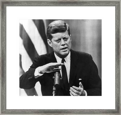 John F. Kennedy, Called On Russia Framed Print by Everett