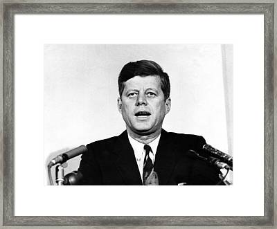 John F. Kennedy, Comments On The Racial Framed Print by Everett