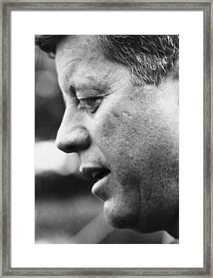 John F. Kennedy, Speaks At New Yorks Framed Print by Everett