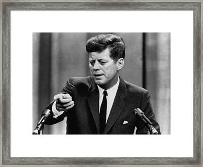 John F. Kennedy, Telling A Press Framed Print by Everett