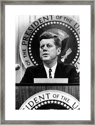 John F. Kennedy, Tells A News Framed Print by Everett