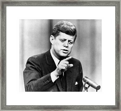 John F. Kennedy, Urges Congress Framed Print by Everett