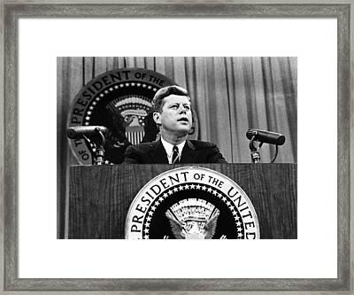 John F. Kennedy, Urges Congress To Pass Framed Print by Everett