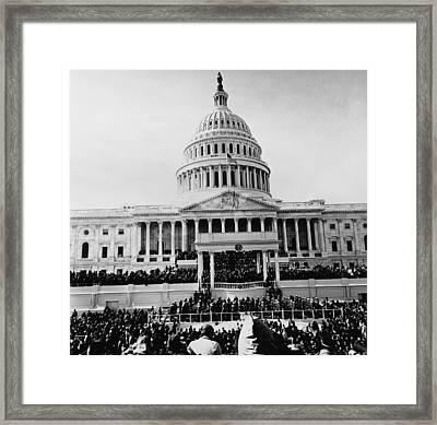 John Kennedy Is Sworn In As 35th Framed Print by Everett