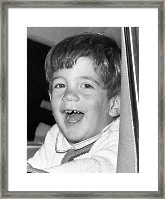 John Kennedy Jr. Smiles Framed Print by Everett