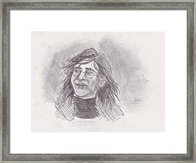 Framed Print featuring the drawing John Lennon- Legend by Chris  DelVecchio