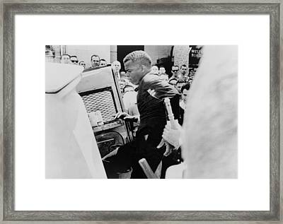 John Lewis Being Ushered Into A Police Framed Print