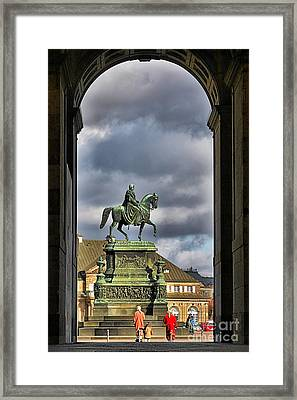 John Of Saxony Monument - Dresden Theatre Square Framed Print by Christine Till