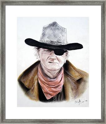 Framed Print featuring the pastel John Wayne  by Jim Fitzpatrick