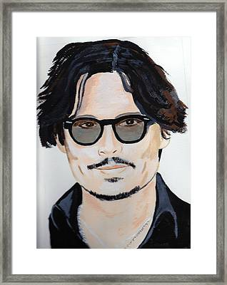 Framed Print featuring the painting Johnny Depp 4 by Audrey Pollitt