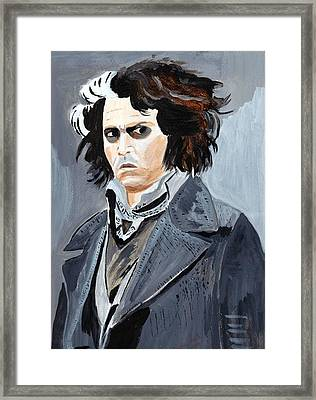 Framed Print featuring the painting Johnny Depp 6 by Audrey Pollitt