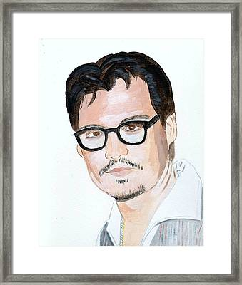 Framed Print featuring the painting Johnny Depp 7 by Audrey Pollitt