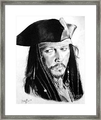 Johnny Depp As Captain Jack Sparrow In Pirates Of The Caribbean Framed Print by Jim Fitzpatrick