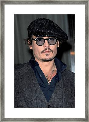 Johnny Depp At Arrivals For Playboy Framed Print by Everett