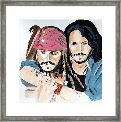 Framed Print featuring the painting Johnny Depp X 2 by Audrey Pollitt