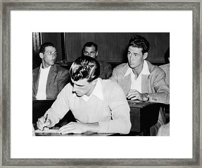 Johnny Presky Left, Ted Williams Right Framed Print by Everett