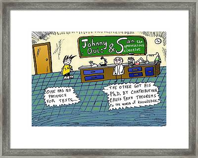 Johnny Quiz And Sam The Supersticious Scientist Framed Print