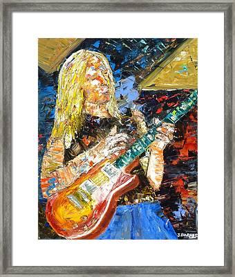 Johnny Winter Framed Print by John Barney