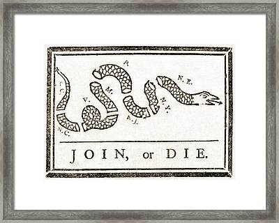 Join Or Die French And Indian War Framed Print by Photo Researchers