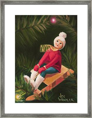 Framed Print featuring the painting Jolly Old Elf by Joe Winkler