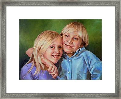 Framed Print featuring the painting Jonathan And Jessica by Nancy Tilles