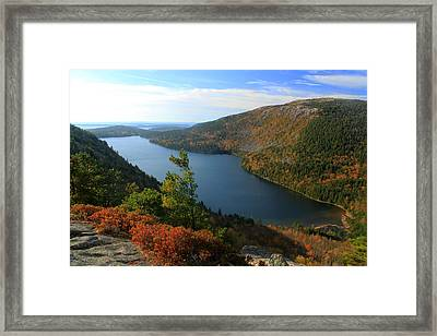 Jordan Pond In Autumn From North Bubble Acadia National Park Framed Print by John Burk