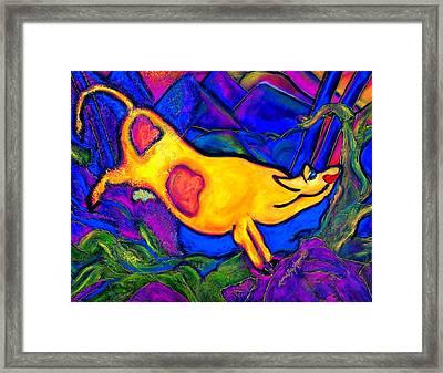 Joyful Yellow Cow Framed Print