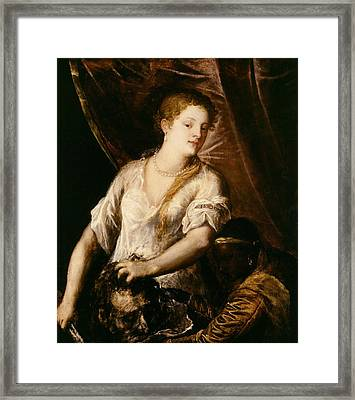 Judith With The Head Of Holofernes Framed Print by Tiziano Vecellio Titian