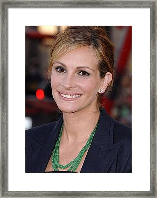 Julia Roberts At Arrivals For Larry Framed Print by Everett