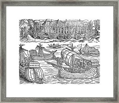 Julius Caesar Sailing The Thames 54 Bc Framed Print by Photo Researchers