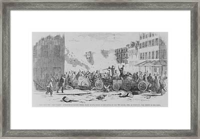 July 4 1857 Battle On Bayard Street Framed Print by Everett