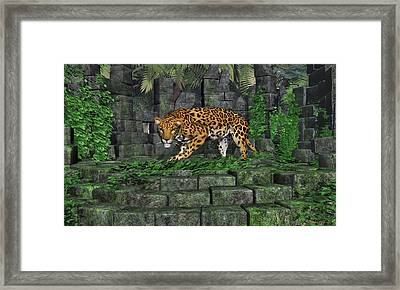 Framed Print featuring the digital art Jungle Ruins Jaguar by Walter Colvin