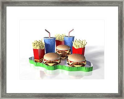 Junk Food And Tape Measure Framed Print by David Mack