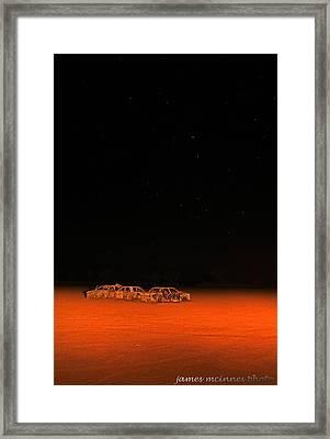Junk Yard On Mars Framed Print by James Mcinnes