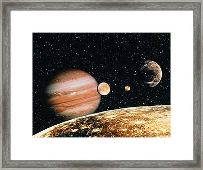 Jupiter And The Galilean Moons Seen From Callisto Framed Print by