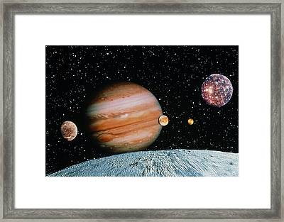 Jupiter And The Galilean Moons Seen From Leda Framed Print by