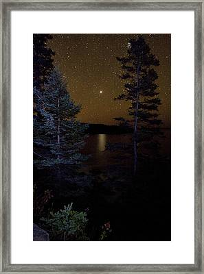 Framed Print featuring the photograph Jupiter Rising Over Otter Point by Brent L Ander