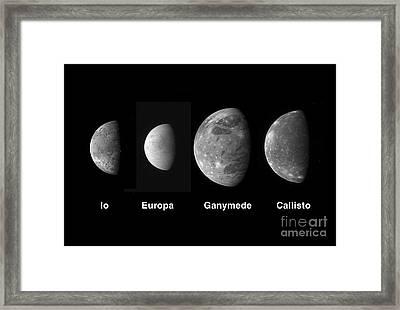 Jupiters Galilean Moons Framed Print by Stocktrek Images